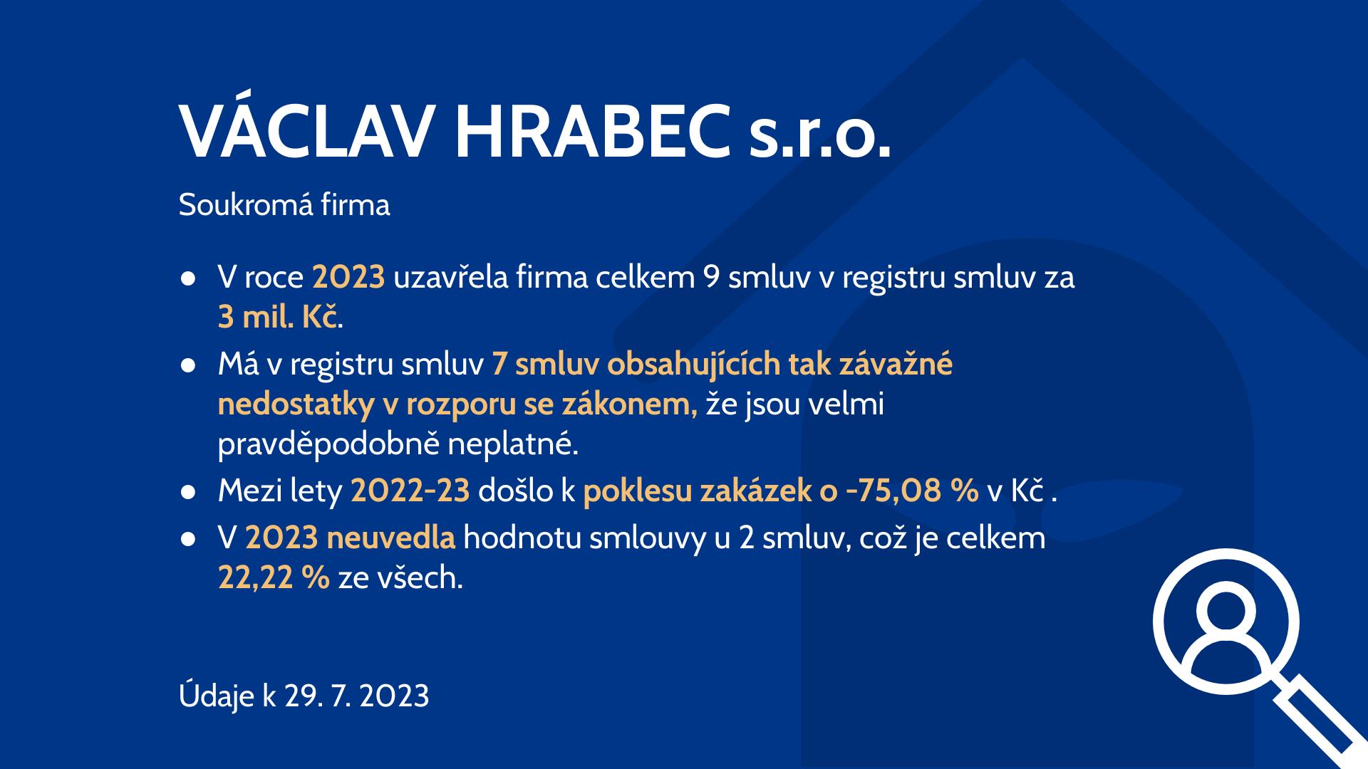 Informace o VÁCLAV HRABEC s.r.o. - Hlídač státu. 133a600a4e